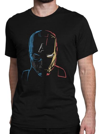 Camiseta Guerra Civil Steve Rogers Tony Stark Geek Nerd