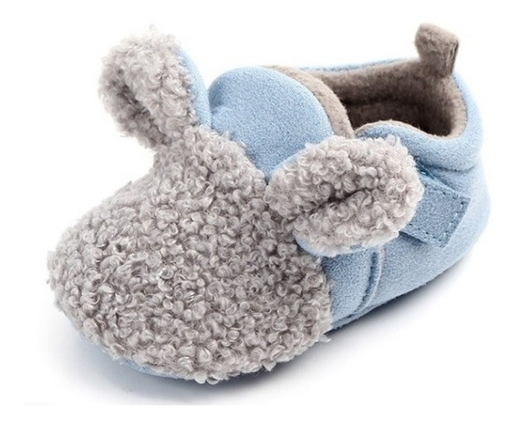 Pantufinha Infantil Bebe 0-6 Meses Azul Coelhinho