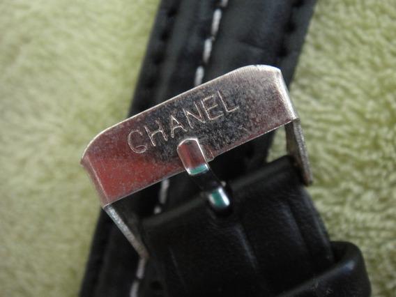 Pulseira Chanel Para Relogio.de Couro Preta 18x200mm.fivela