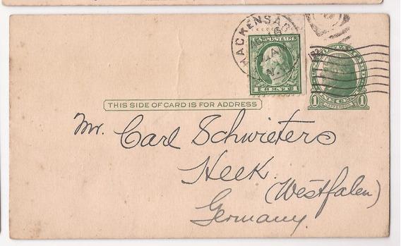Estados Unidos 1921 Postal A Alemania - 296