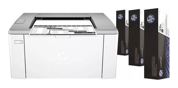 Impressora Hp Laserjet Ultra M106w Wi-fi + 3 Tonner Preto
