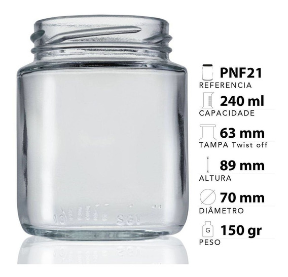 24 Potes De Vidro Belém 240 Ml Tampa Preta + Lacre