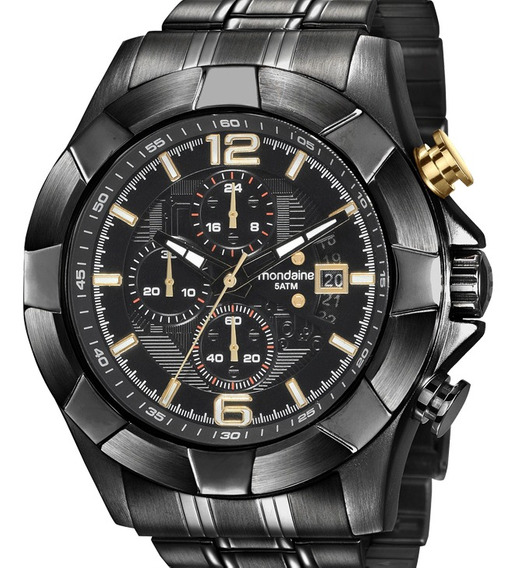 Relógio Mondaine Masculino Preto Crono 78756gpmvps1