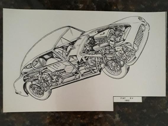 Esboço Projeto Protótipo Cutaway Raio-x De Arte Fiat 8v 52