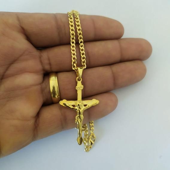 Cordão Banhado A Ouro Masculino Com Pingente Com Nf Cr003