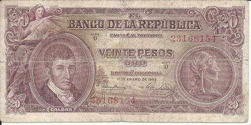 Imagen 1 de 2 de Colombia 20 Pesos Oro 1 Enero 1953