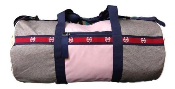 Bolso Xl Gris Rosa Logos Rojo Dorado Pink Victoria