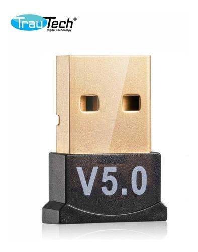 Adaptador Usb Bluetooth 5.0 Trautech Para Pc O Laptop 10 Mts