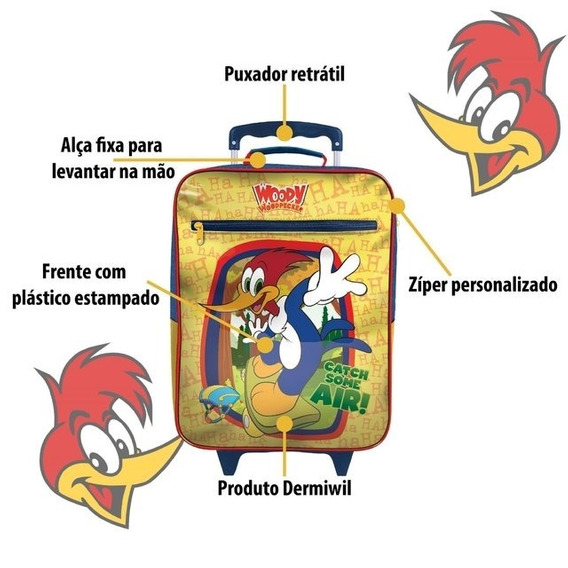 Mochila De Rodinhas Infantil Escolar Pica Pau 30373