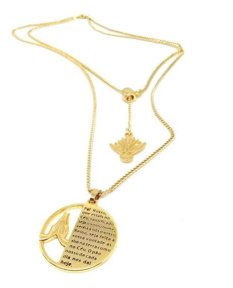 Colar Duplo Com Pingente Medalha Oração Pai Nosso Inteira