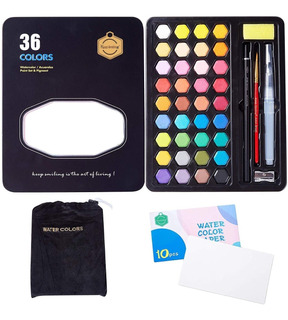 Acuarelas Profesionales 36 Colores Con Estuche