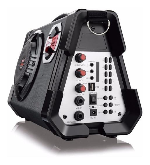 Caixa De Som Multiuso Com Microfone Mp3 Usb Sd Fm Guitarra