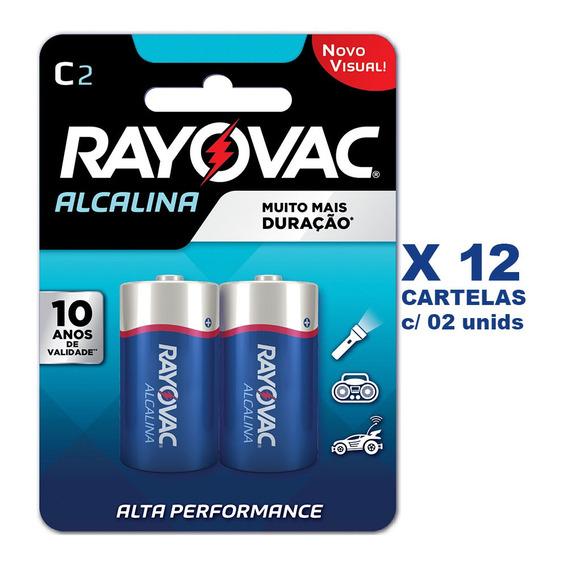 Pilha Alcalina Rayovac C - 12 Cartelas Com 2unid - 24 Pilhas