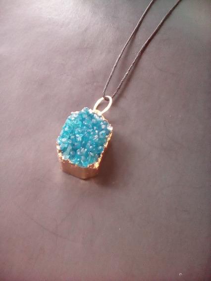 Collar Natural Cuarzo Azul Cristal