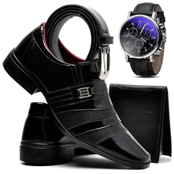 Kit Sapato Social Masculino Verniz + Relógio Cinto Carteira