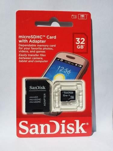 Cartão De Memória Sandisk Micro Sd 32gb, Classe 4 + Adaptado