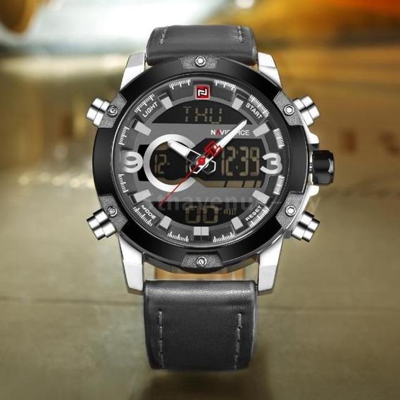 Relógio Analógico/digital Prata Silver Naviforce Couro Luxo