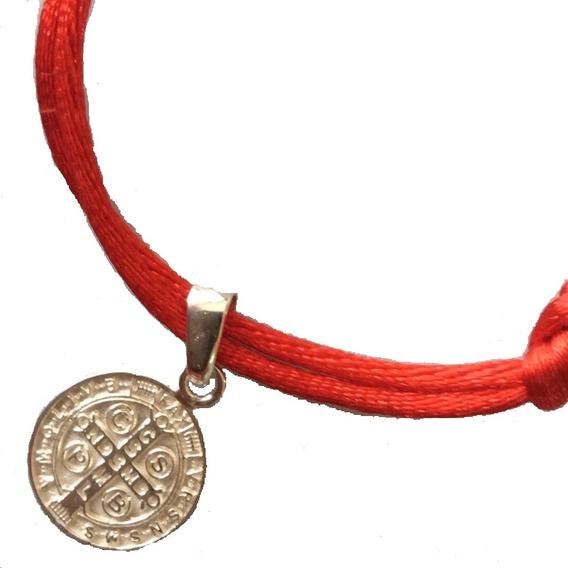 Pulsera Roja Gruesa Resistente Protección Con Medalla San Benito En Plata Ley 925 Solida + Envío Incluido