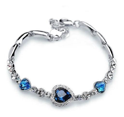 Pulseira De Cristal Coração Azul - Folheada Ouro Braco