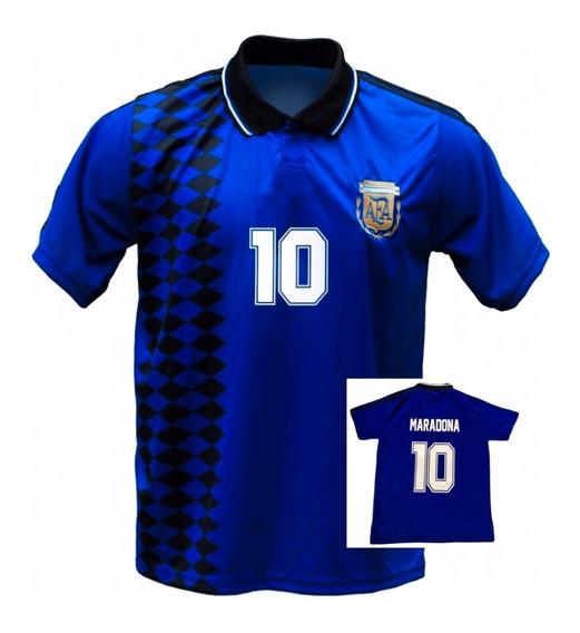 Camiseta Argentina Mundial 1994 Retro Maradona Azul