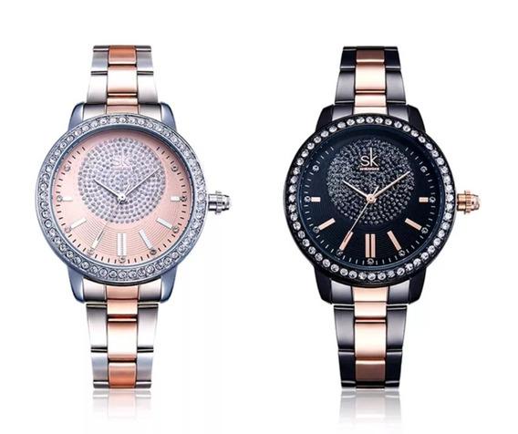 Relógio Feminino De Cristal Luxo Shengke Original