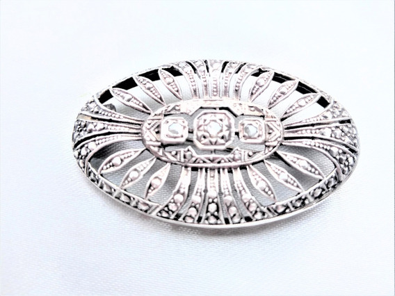 Hermoso Broche Antigo Prata E Diamantes