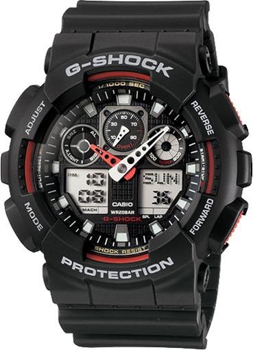 Relógio G-shock Ga100 1a4 Wr-200 5 Alarmes Hr Mundial Origi