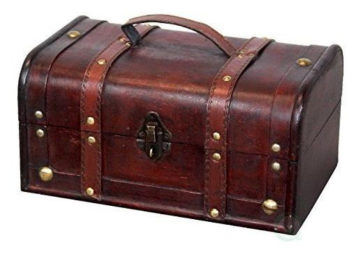 Vintiquewise (tm Caja De Tesorobaúl De Madera Decorativ