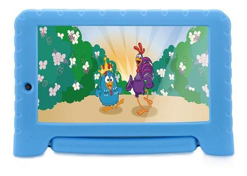 """Tablet  Multilaser Galinha Pintadinha Plus NB311 7"""" 16GB azul com 1GB de memória RAM"""
