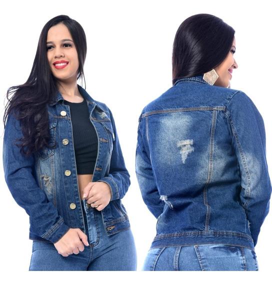 Jaqueta Feminina Jeans Manga Longa Bolsos Botões Casaco Moda