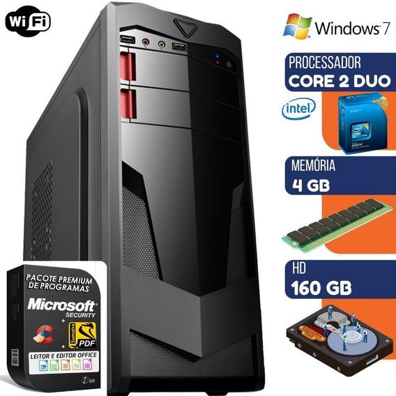 Computador Pc Intel Dual Core 4gb Hd 160gb Windows 7 Wifi