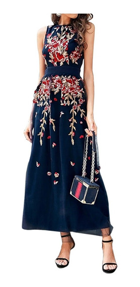 Vestidos De Fiesta Largo Floral Tropical Tull Bordado Azul