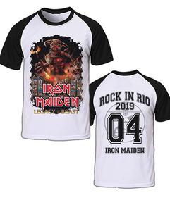 Camiseta Raglan Iron Maiden Rock In Rio Tour Legacy 2019