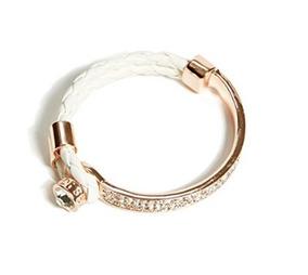 Bracelete De Metal Com Strass E Couro - Guess - Glam0033