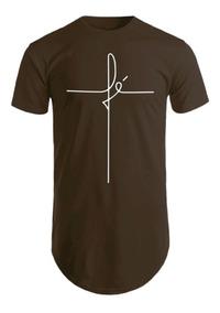 Camiseta Fe Camisa Longline Masculina Oversized Estampada