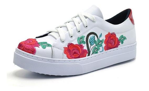 Tênis Casual Feminino Branco/vermelho Bordado Flor Rosas