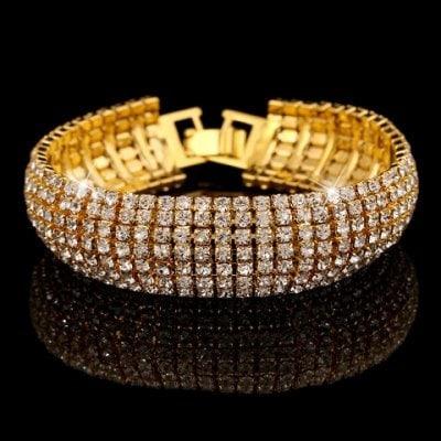 Bracelete Em Strass Com Banho Dourado Puro Glamour