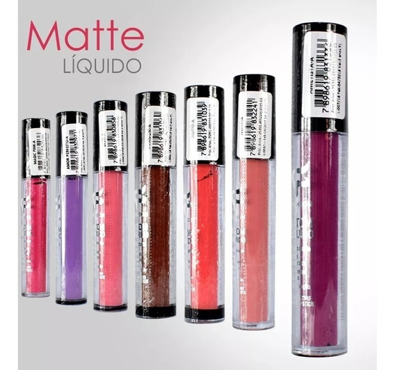 Batom Líquido Matte Fashion 24 Unidades + Brinde