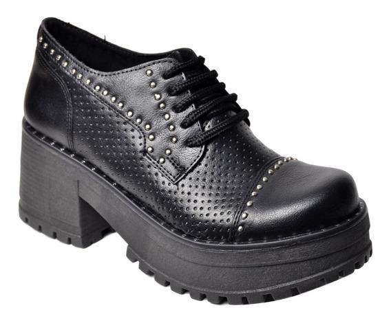 Zapato Clásico Mujer De Plataforma Savage Mb120 Cordón Tacha