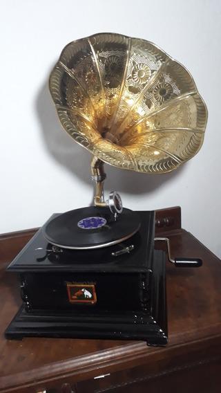 Gramofone Vitrola Rot.78 A Corda + 2 Discos E 30 Agulhas
