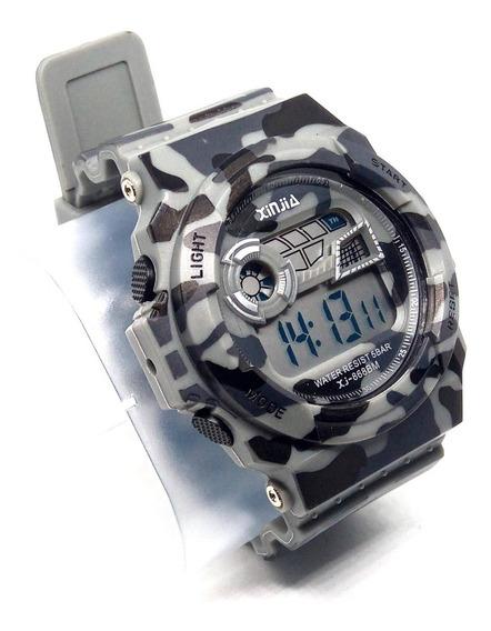 Relógio Digital Xinjia Camuflado 5atm