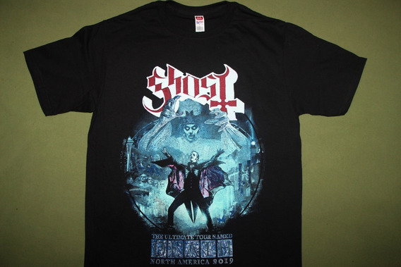 Gusanobass Playera Metal Rock Ghost Tour Heavy Black