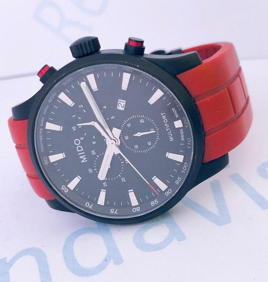 Reloj Mido Multifort Pavonado Caucho Rojo