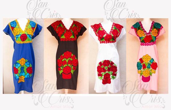Vestido / Bata / Largo Bordado Flores Zinacantan Chiapas