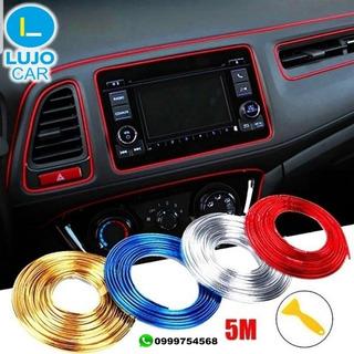 Cinta Cromada Para Auto Tablero Interior Decorativo 5,5 Mts
