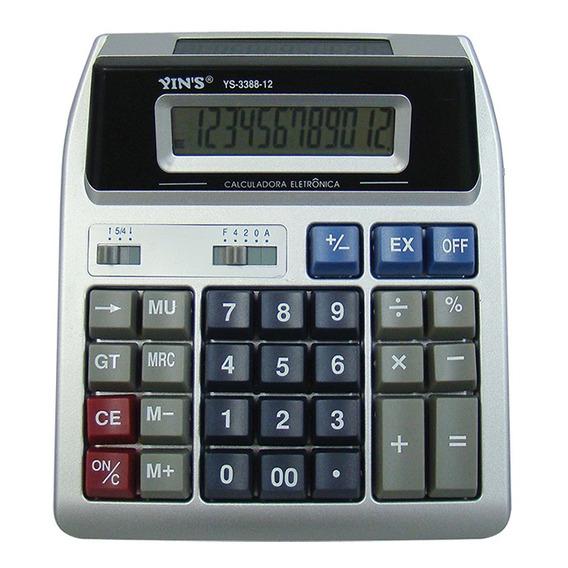 Calculadora Digital De Mesa Com 12 Dígitos Visor Duplo Yins