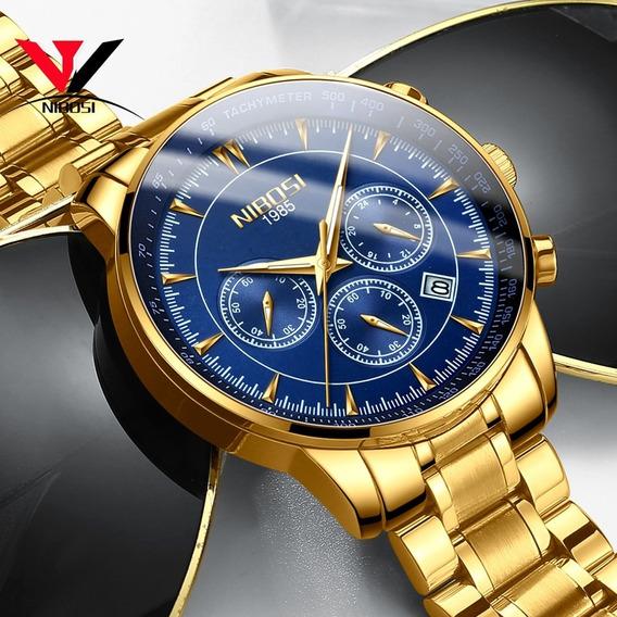 Nibosi Oro Azul Relojes Para Hombres 2019 Impermeable Negoci