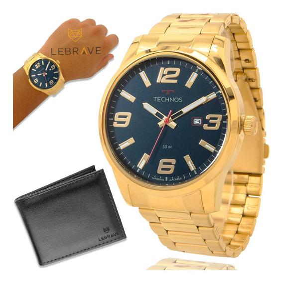 Relógio Masculino Dourado Technos Prova Dagua Garantia 1 Ano