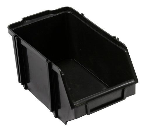 Caja Bin N 7 Organizador Plástico Apilable Color Negro
