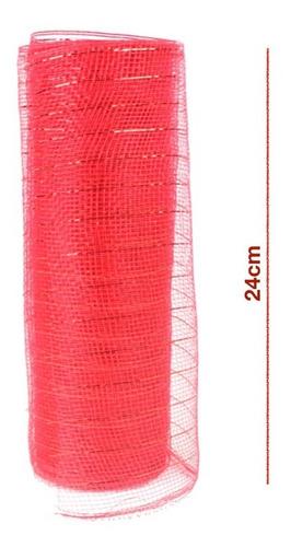 Imagen 1 de 2 de Listón Malla Navideña Metálica Para Decoración 24 Cm X 9 Mts